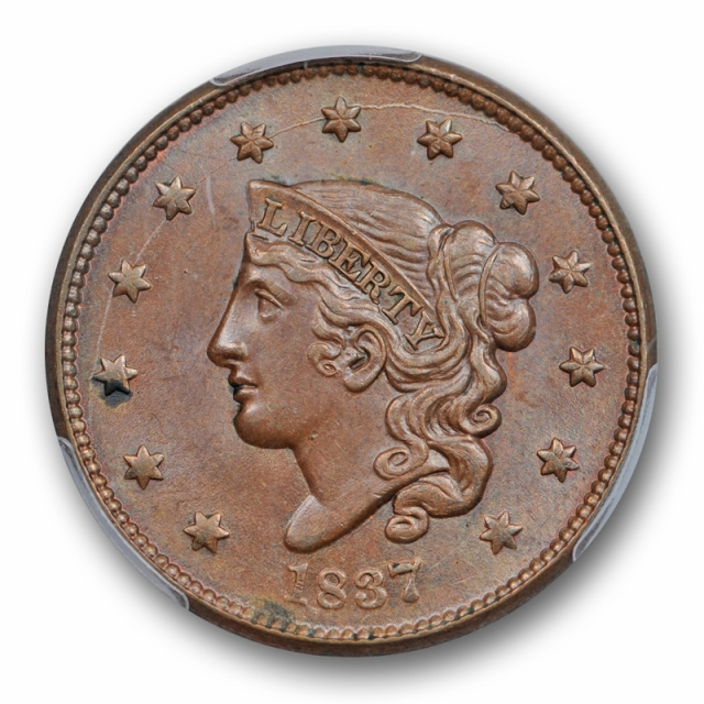 1837 1C Coronet Head Large Cent PCGS MS 63 BN Uncirculated CAC Approved