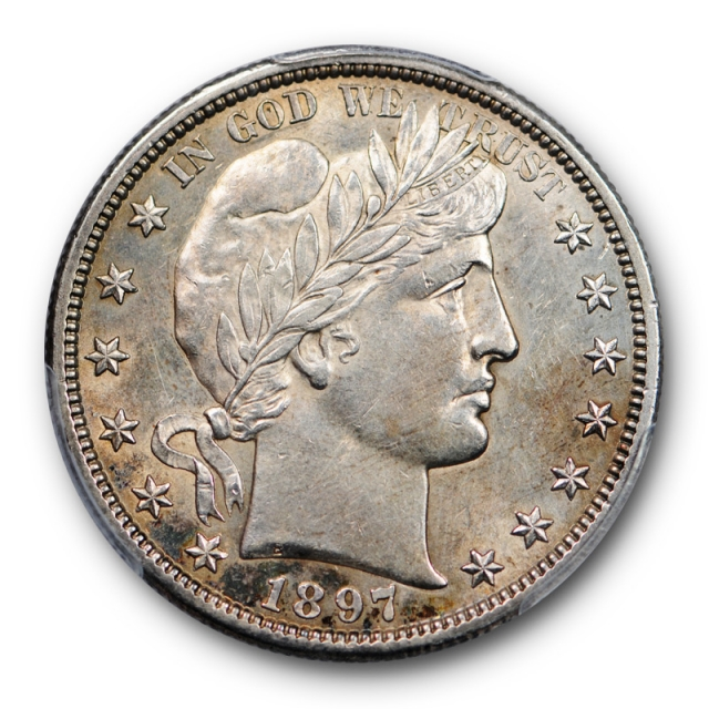 1897 S 50C Barber Half Dollar PCGS AU 58 About Uncirculated Toned Key Date