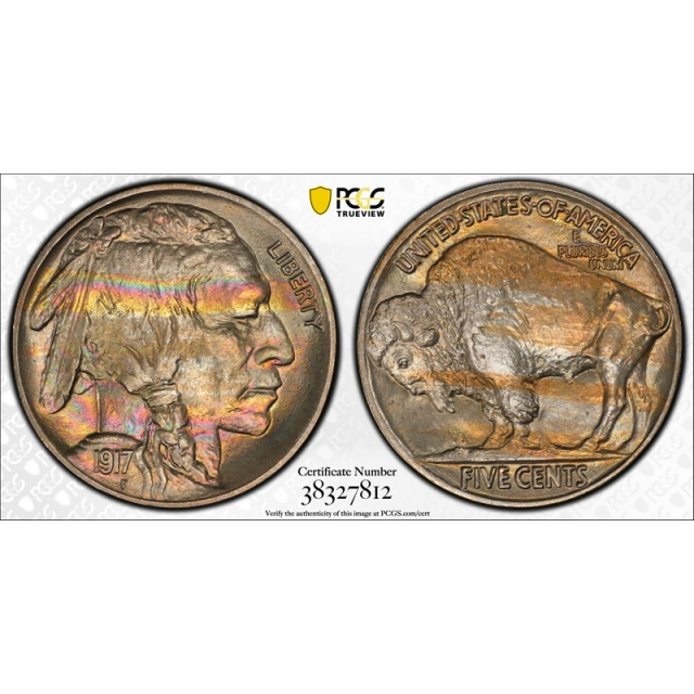 1917 5C Buffalo Nickel PCGS MS 66+ Uncirculated High End Rainbow Toned CAC Approved