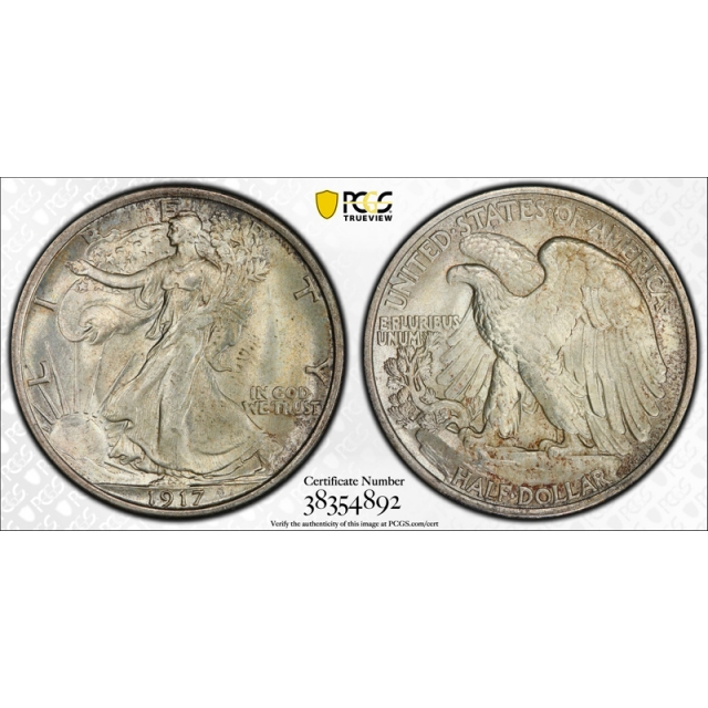 1917 50C Walking Liberty Half Dollar PCGS MS 65 Uncirculated Original Cert#4892