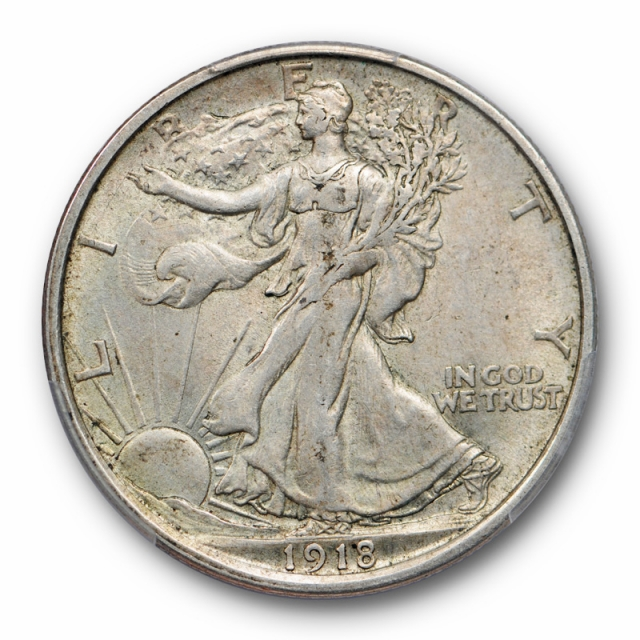 1918 D 50C Walking Liberty Half Dollar PCGS AU 55 About Uncirculated CAC