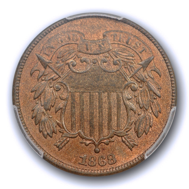 1868 2C Two Cent Piece PCGS MS 64 RB Uncirculated Red Brown CAC Approved Nice !