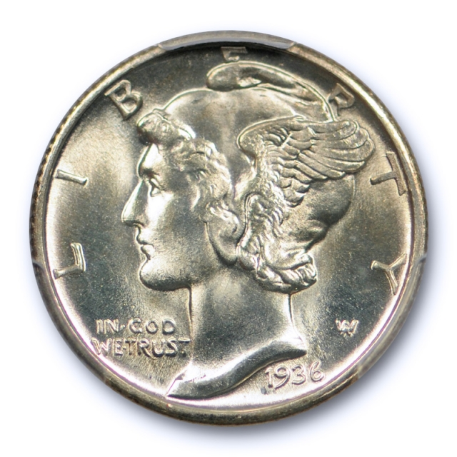 1936 D 10C Mercury Dime PCGS MS 67 FB Uncirculated Full Bands High End Lustrous Coin