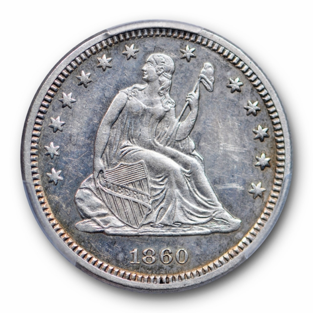 1860 25C Seated Liberty Quarter PCGS PR 58 Proof Low Mintage Coin