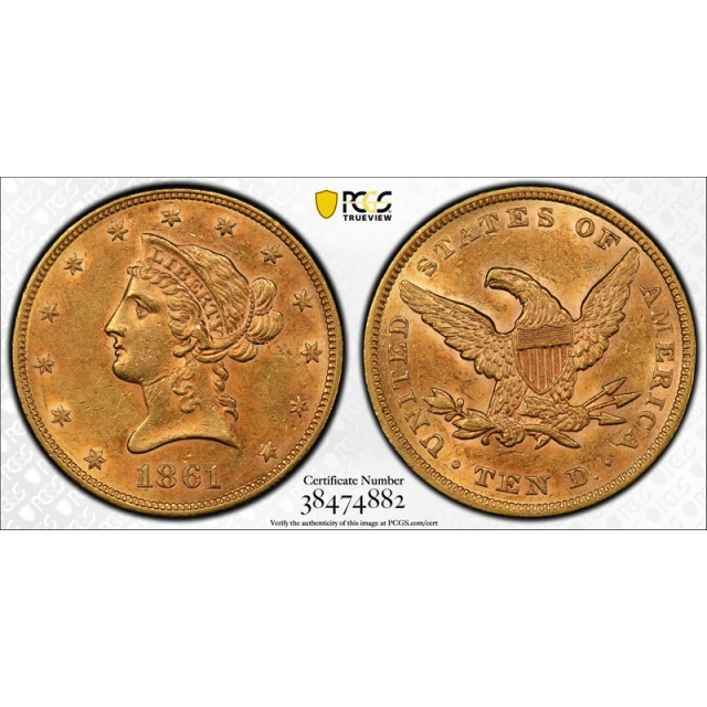 1861 $10 Liberty Head Eagle Gold Piece PCGS AU 55 About Uncirculated Civil War Date