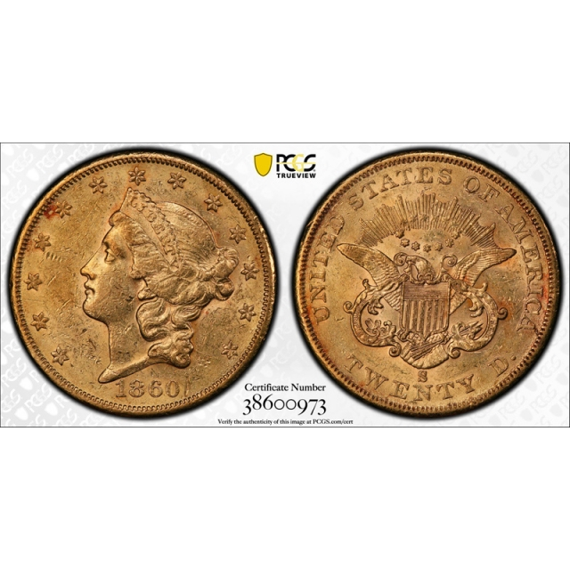 1860 S $20 Liberty Head Double Eagle Gold PCGS AU 58 About Uncirculated Nice !