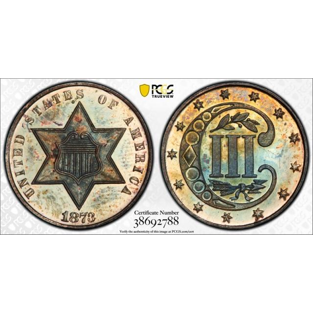 1873 3CS Three Cent Silver PCGS PR 65 Proof Key Date Toned Pretty !