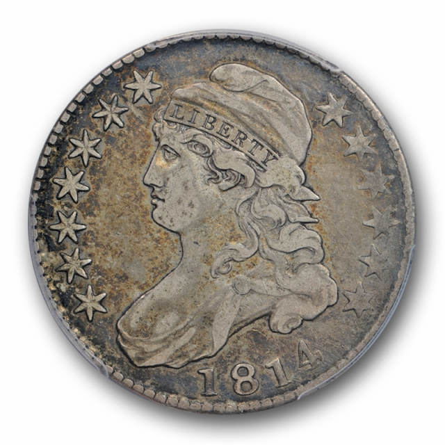 1814 50C E/A Capped Bust Half Dollar PCGS VF 25 Very Fine to Extra Fine Toned