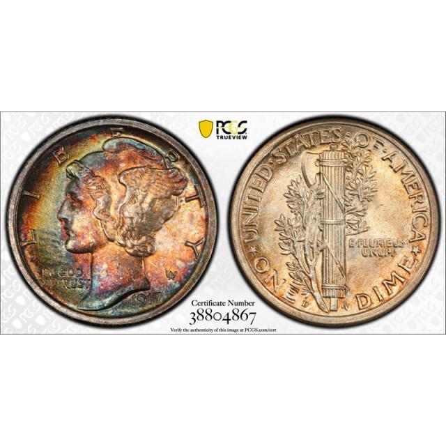 1917 D 10C Mercury Dime PCGS MS 65 FB Uncirculated Full Bands Toned Beauty !