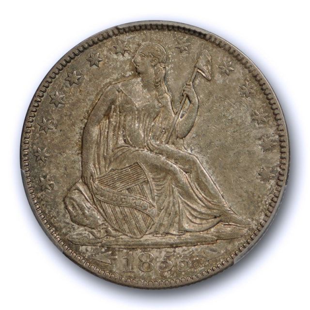 1855 O 50C Arrows Seated Liberty Half Dollar PCGS AU 50 About Uncirculated Toned