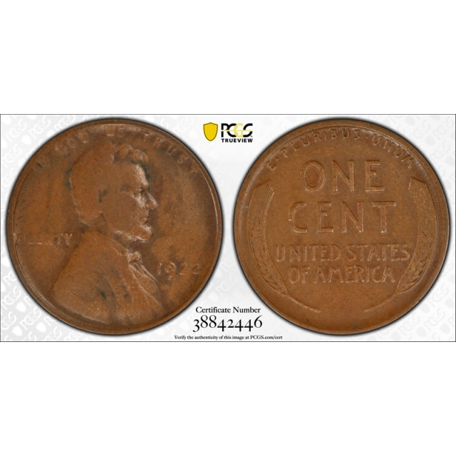 1922 No D 1C Strong Reverse Lincoln Wheat Cent PCGS VF 20 Very Fine Key !