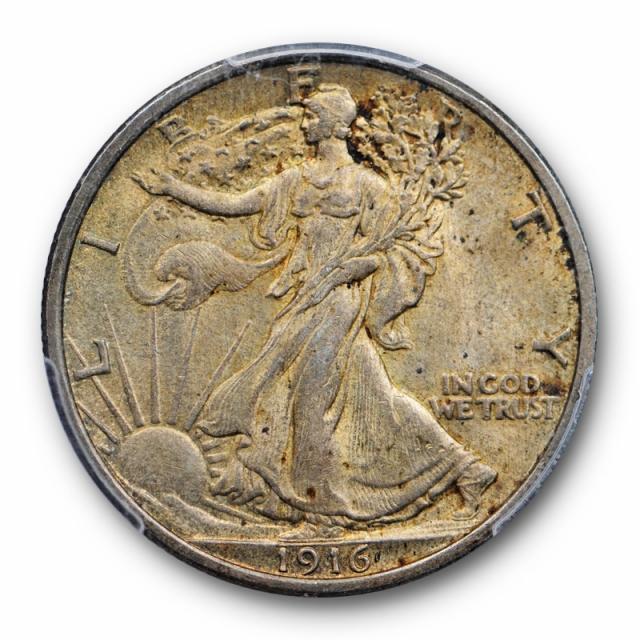 1916 50C Walking Liberty Half Dollar PCGS MS 63 Uncirculated Toned Original