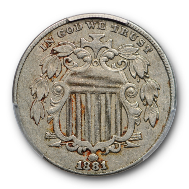 1881 5C Shield Nickel PCGS XF 40 Extra Fine Key Date Low Mintage Tough !
