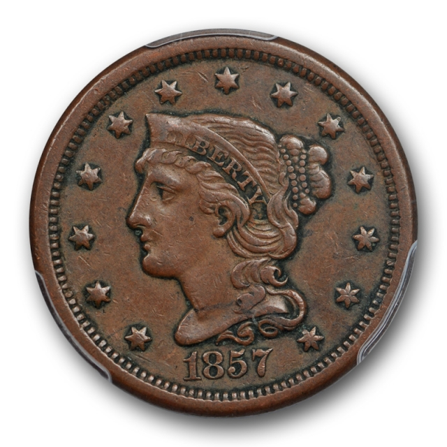 1857 1C Small Date Braided Hair Large Cent PCGS XF 45 Extra Fine + Cert#472