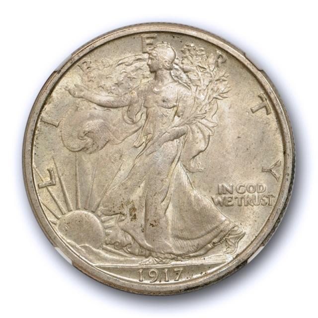 1917 50c Walking Liberty Half Dollar NGC MS 65 Uncirculated CAC Approved Original Toned