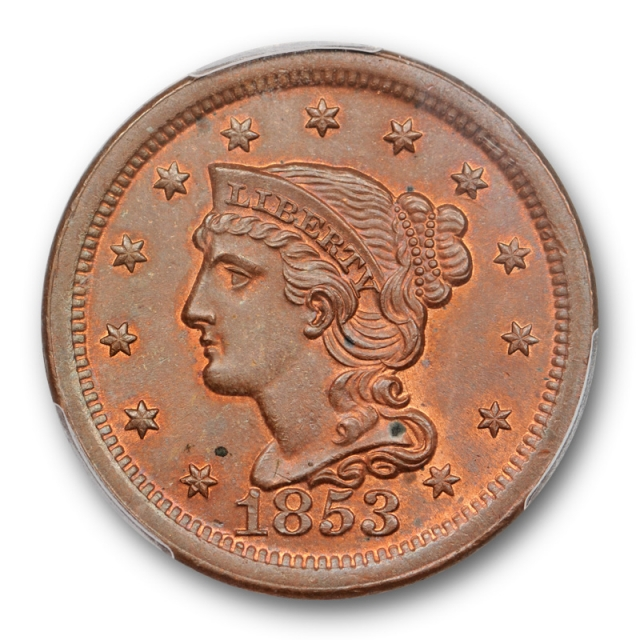 1853 1C Braided Hair Large Cent PCGS MS 64 BN Exceptional A lot of Red !