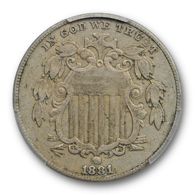 1881 5C Shield Nickel PCGS AU 50 About Uncirculated Key Date Low Mintage