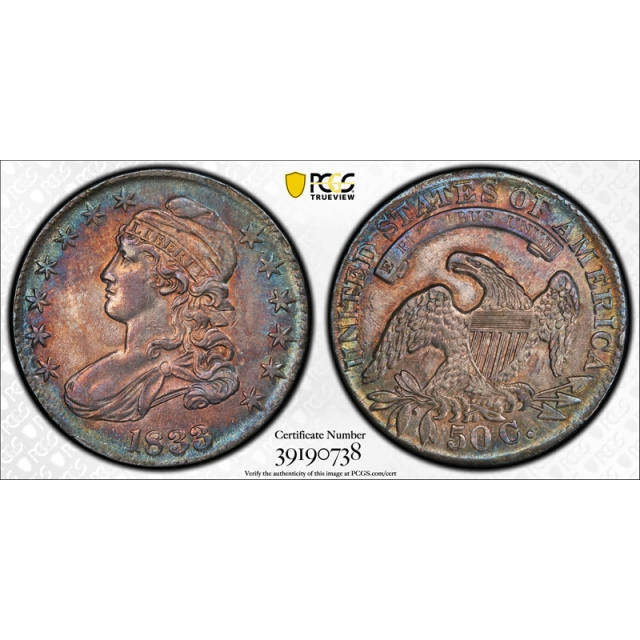 1833 50C Capped Bust Half Dollar PCGS AU 55 Purple & Blue Toned Beauty Pretty !