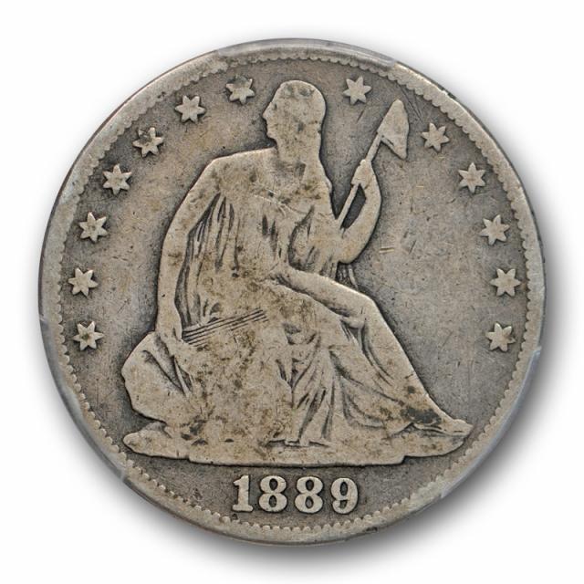 1889 50C Seated Liberty Half Dollar PCGS VG 8 Very Good Key Date Full Rims