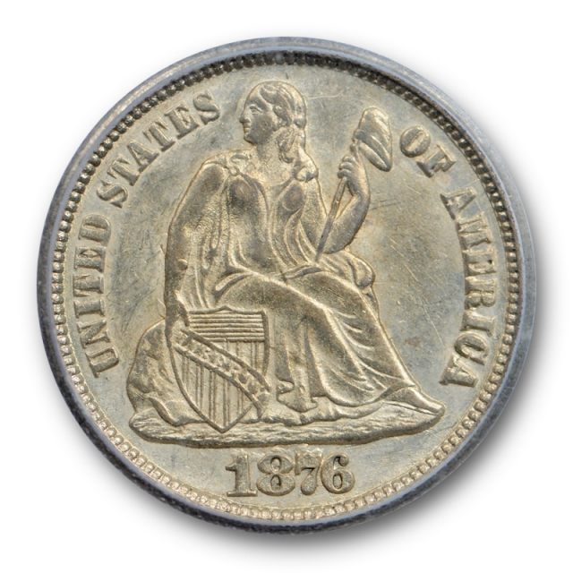 1876 CC 10C Seated Liberty Dime ICG AU 58 About Uncirculated Carson City Mint