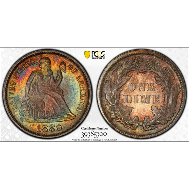 1889 10C Seated Liberty Dime PCGS MS 66 Uncirculated Attractive Toned Beauty !