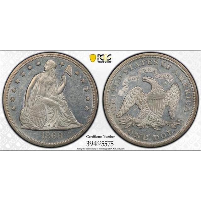 1868 $1 Seated Liberty Dollar PCGS AU 58+ Registry Set Coin Looks PL Tough !