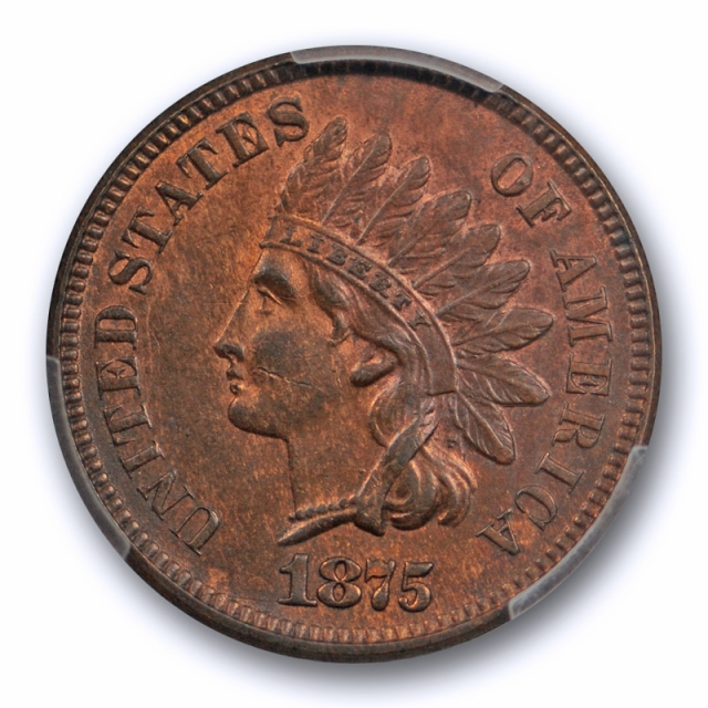 1875 1C Indian Head Cent PCGS MS 62 BN Uncirculated Better Date Some Red !