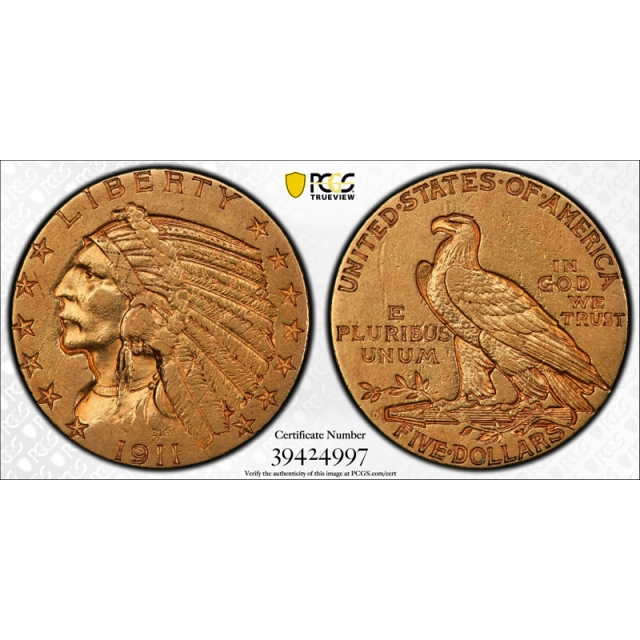 1911 D $5 Indian Head Half Eagle PCGS AU 50 About Uncirculated CAC Approved !