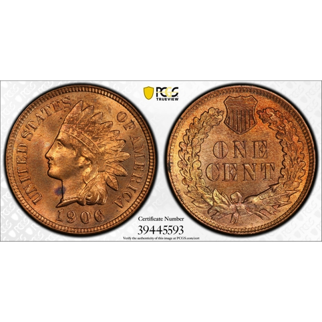 1906 1C Indian Head Cent PCGS MS 65 RD Uncirculated Red Secure Label Holder