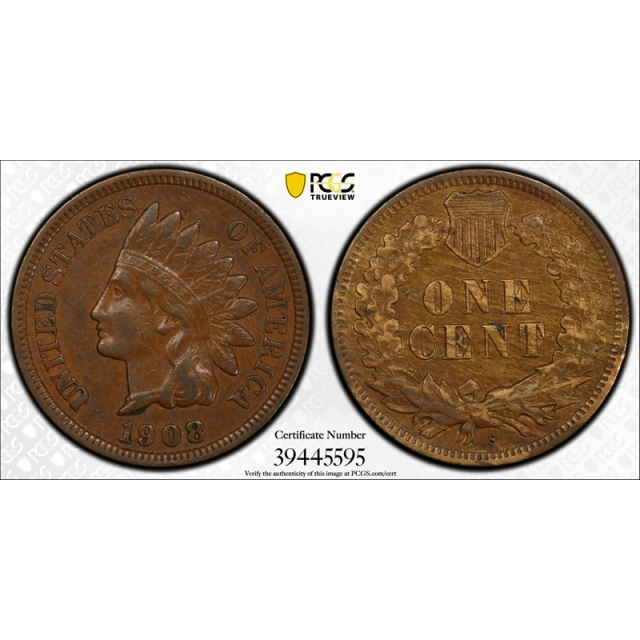 1908 S 1C Indian Head Cent PCGS XF 40 Extra Fine Key Date San Francisco Mint Cerrt#5595