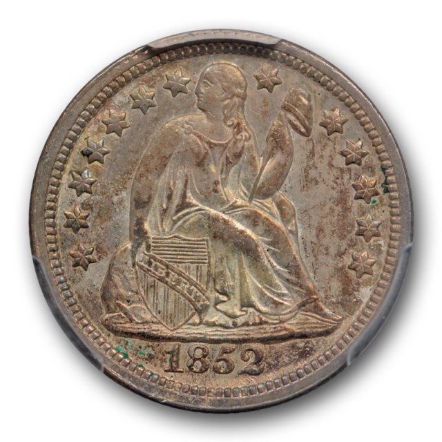 1852 10C Seated Liberty Dime PCGS MS 63 Uncirculated Attractively Toned Sharp !