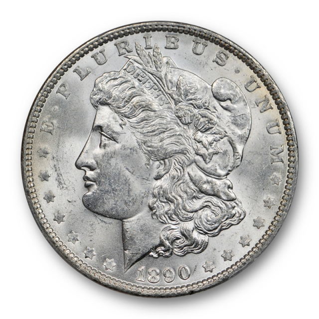 1890 $1 Morgan Dollar PCGS MS 63 Uncirculated Blast White Lustrous Cert#7058