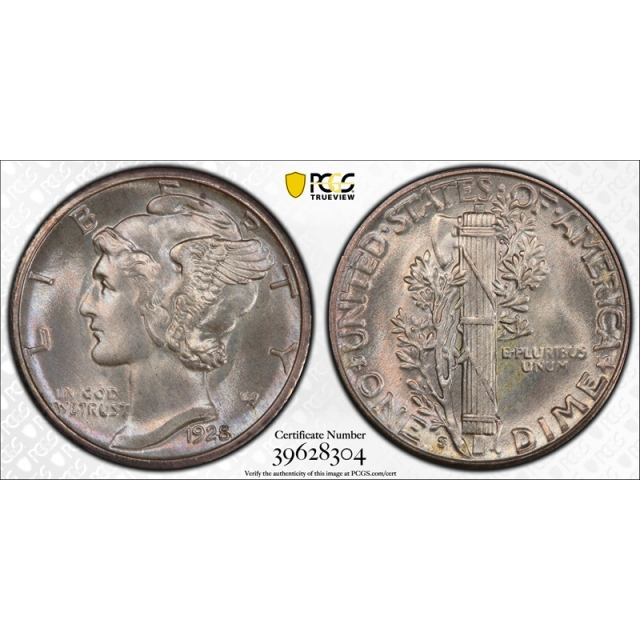 1928 S 10C Mercury Dime PCGS MS 66+ Uncirculated CAC Approved Stunning ! Pop 4 !