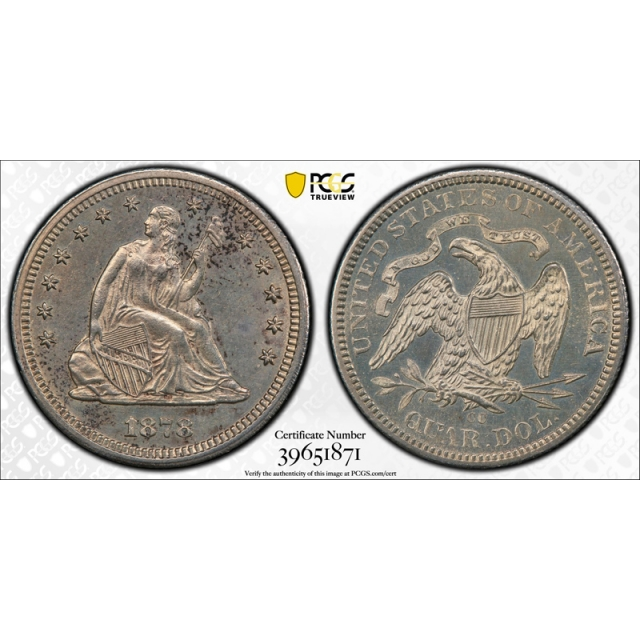 1878 CC Seated Liberty Quarter PCGS MS Uncirculated Details Carson City Proof Like PL?