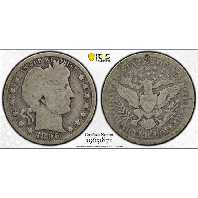 1896 S 25C Barber Quarter PCGS G 4 Good San Francisco Mint Key Date Cert#1872