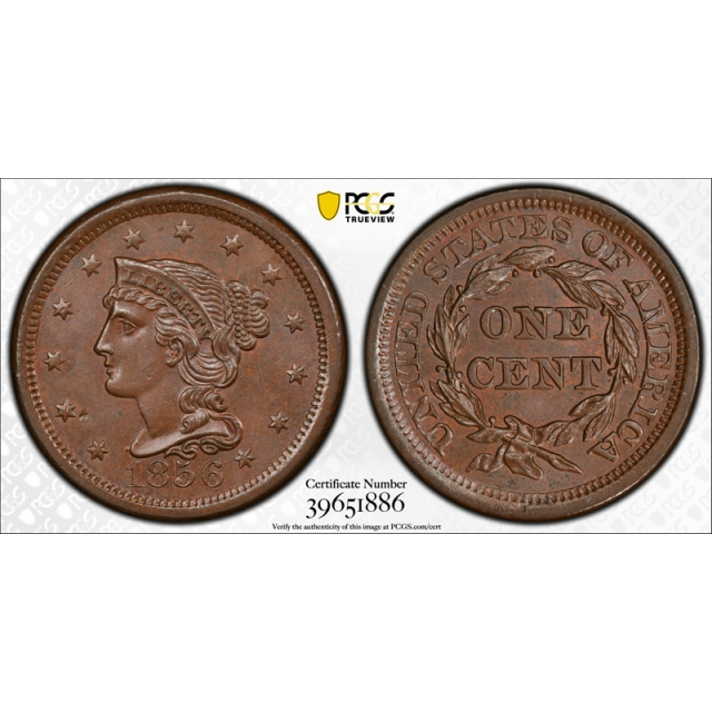 1856 1C Upright 5 Braided Hair Large Cent PCGS MS 65 BN Uncirculated Exceptional !