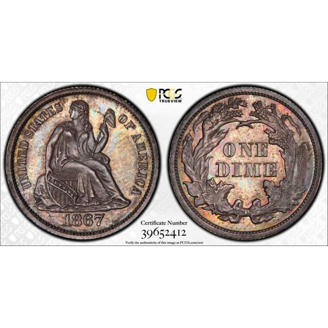 1867 10C Seated Liberty Dime PCGS PR 62 Proof Key Date Low Mintage Cert#2412