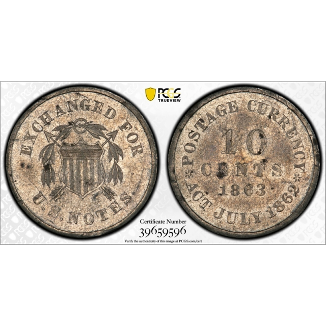 1863 10c US Pattern PCGS PR Proof Uncirculated Details  J 327 Judd WW Era