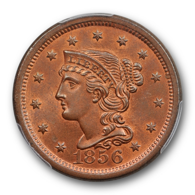 1856 1C Upright 5 Braided Hair Large Cent PCGS MS 65 RB Uncirculated Red Brown