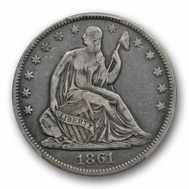 1861 O 50C CSA Obverse Seated Liberty Half Dollar PCGS VF 25 Very Fine Looks Better !