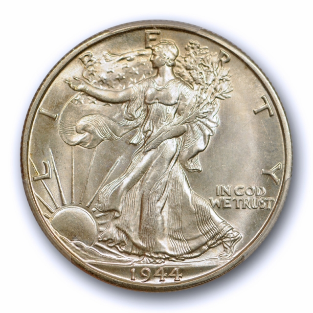 1944  50C Hand Engraved Initials Walking Liberty Half Dollar PCGS MS 66 CAC Approved !