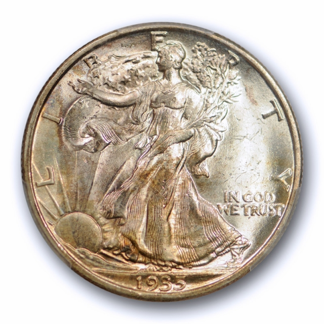 1935 S 50C Walking Liberty Half Dollar PCGS MS 64 Uncirculated CAC Approved Toned