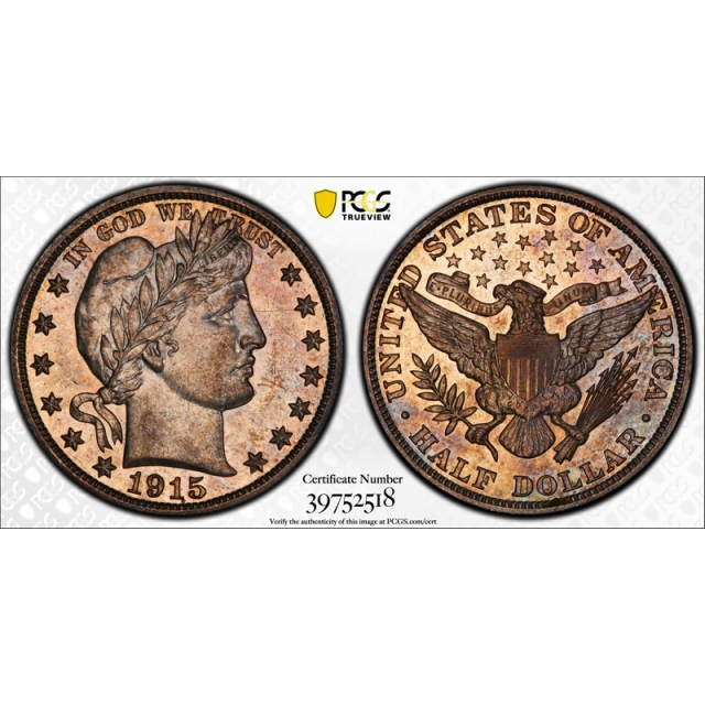 1915 50C Barber Half Dollar PCGS PR 62 Proof Key Date Low Mintage Coin Cert#2518