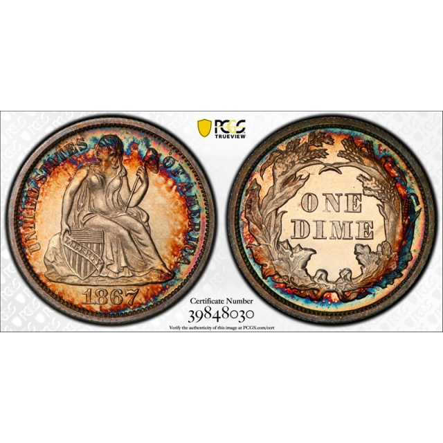1867 10C Seated Liberty Dime PCGS PR 64 Proof Key Date Gorgeous Colorful Toned Beauty !