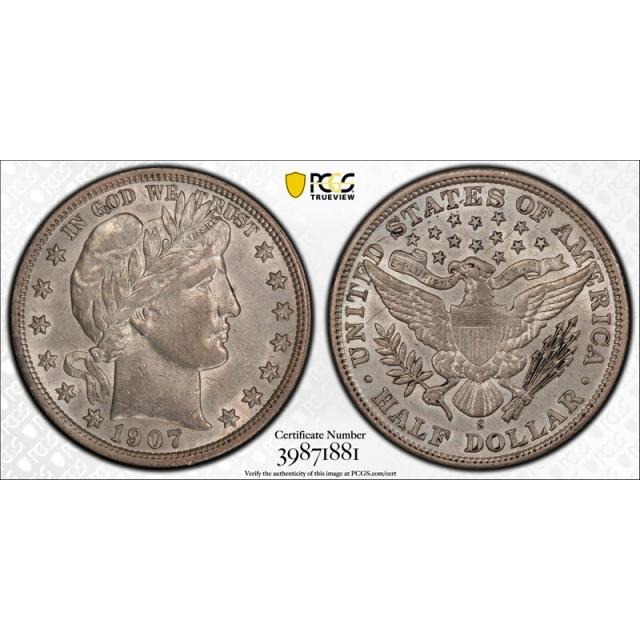1907 S 50C Barber Half Dollar PCGS AU 50 About Uncirculated Better Date Tough Grade !