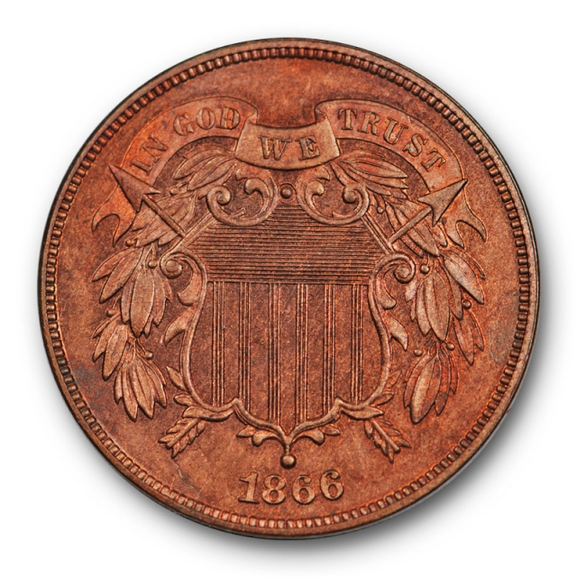 1866 2C Proof Two Cent Piece PR Uncirculated Red Brown RB Low Mintage