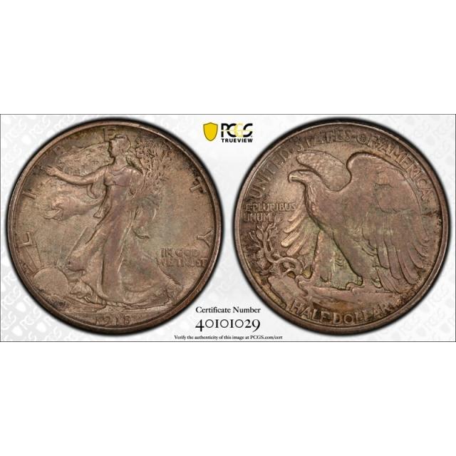 1918 S 50C Walking Liberty Half Dollar PCGS MS 62 Uncirculated Original Toned !