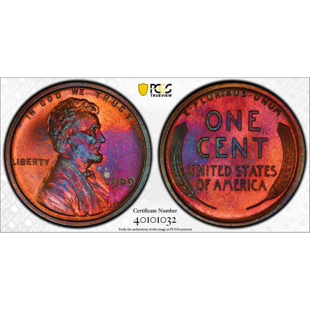 1909 1C Proof Lincoln Wheat Cent PCGS PR 65 RB Red Brown Toned Pretty !