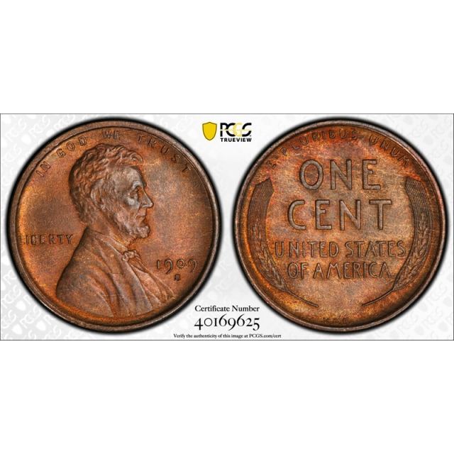1909 S VDB 1C Lincoln Wheat Cent PCGS MS 64 RB Uncirculated CAC Approved