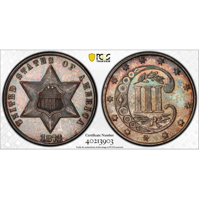 1872 3CS Three Cent Silver Piece PCGS PR 65 Proof Key Date Beautifully Toned Coin !